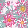 Vector seamless colorful pattern background ornamented flowers Royalty Free Stock Photo