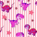 Vector seamless cute graphical cartoon dinosaur pattern. childhood design. Royalty Free Stock Photo