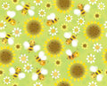 Vector seamless cute pattern flowers and bees soft blurred eff background is my creative handdrawing you can use it for spring Royalty Free Stock Image