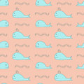 Vector seamless cute whale pattern.