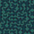 Vector Seamless Dark Green Geometric Semi Circle  Irregular Blocks Retro Pattern Royalty Free Stock Photo