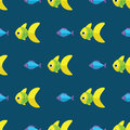 Vector seamless fish pattern. Ocean or aquarium background