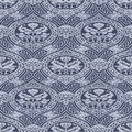 Vector seamless floral antique pattern with interlacing ribbons background Stock Image
