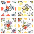 Vector seamless floral pattern with butterfly, apis, ladubug, splash, blots, drop Hand drawn contour lines and strokes Doodle sket