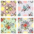 Vector seamless floral pattern with butterfly flowers, leaves, decorative elements, splash, blots, drop Hand drawn contour lines a