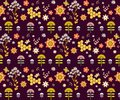 Vector seamless floral pattern summer composition with honeycomb bees flowers use it as fills web page background surface textures Stock Image