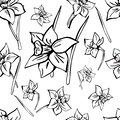 Hand drawn vector seamless floral pattern. Monochrome picture