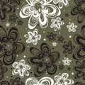 Vector Seamless freehand floral pattern Stock Photo