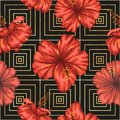 Vector seamless geometric pattern with bright red hibiscus flowers on black background