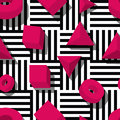 Vector seamless geometric pattern. Pink 3d shapes on black and white striped background.