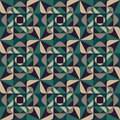 Vector Seamless Geometric Rounded Triangle Shapes Square Green Grey Pattern Dark Background Royalty Free Stock Photo