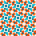 Vector Seamless Geometric Rounded Triangle Shapes Square Teal Orange Pattern On White Background