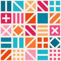 Vector Seamless Geometric Square Irregular Quilt Tiling Pattern in Pink Blue and Orange Royalty Free Stock Photo
