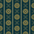 Vector seamless gold vintage ornamental pattern on dark blue background Royalty Free Stock Photo
