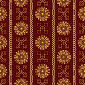 Vector seamless gold vintage ornamental pattern on dark red background Royalty Free Stock Photo