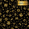 Vector seamless gold vintage pattern with curved letters on black background Royalty Free Stock Photo