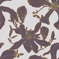 Vector seamless golden floral pattern with magnolia flowers and leaves. Royalty Free Stock Photo