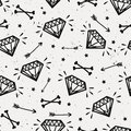 Vector seamless grunge pattern with vintage diamonds, bones Royalty Free Stock Photo