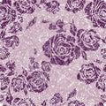 Vector Seamless grunge vintage flower rose pattern Royalty Free Stock Photo