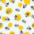 Vector seamless hand drawn honey bee pattern.