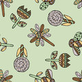 Vector seamless hand drawn pattern, decorative stylized childish flowers Doodle style, graphic illustration Ornamental cute hand d