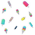Vector seamless ice cream pattern. colorful cartoon background with fruit and chocolate popsicles. Royalty Free Stock Photo