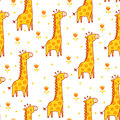 Vector seamless illustration with giraffes.
