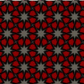 Vector seamless islamic interlacing line star geometric pattern black white red color abstract background Royalty Free Stock Photos