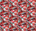 Vector Seamless Isometric Blocks Cubic City Composition Pattern in Pink and Blue Royalty Free Stock Photo