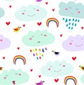 Vector seamless kawaii cartoon cute pattern with smiling clouds, rainbow, hearts,colorful birds on the white background.