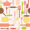 Vector seamless of kitchen tools. Royalty Free Stock Photography