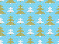 Vector seamless knitted pattern with trees background imitation jacquard knitting Stock Image