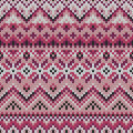 Vector seamless lilac ornament on knitted texture Royalty Free Stock Photo