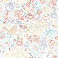 Vector seamless linear Valentine`s pattern.