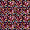 Vector seamless love pattern decorative ethnic heart Royalty Free Stock Image
