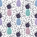 Vector seamless memphis pattern with pineapples