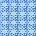 Vector seamless monochrome blue pattern: Fleur de lis or royal lily baroque style ornate.