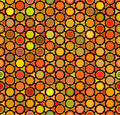 Vector Seamless Multicolor Orange Shades Rounded Hexagon Honeycomb Line Connected Grid Pattern Royalty Free Stock Photo