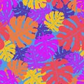 Vector seamless neon pattern of palm leaves and tropical plants.