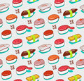 Vector seamless nigiri sushi pattern. Japanese doodle food cover in vintage sketch style. Royalty Free Stock Photo