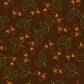 Vector seamless oak pattern with hand drawn elements leaves and acorns Royalty Free Stock Photo