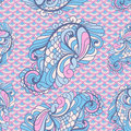 Vector seamless paisley pattern in soft colors on scallops Royalty Free Stock Photography
