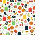 Vector seamless patter of colorful fruit and berry smoothies in glass jars with fruit and berries