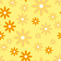 Vector seamless patter with plane flowers background simple camomiles on the soft yellow background Stock Photos