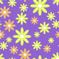 Vector seamless patter with plane flowers. Background with yellow and orange camomiles Royalty Free Stock Photo