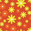 Vector seamless patter with plane flowers background yellow and orange simple camomiles on the red background Royalty Free Stock Images