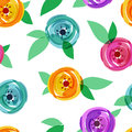 Vector seamless pattern with abstract multicolor rose flower and