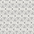 Vector seamless pattern. Abstract stylish monochrome geometric background with spirally twisted triangles.