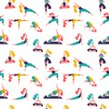 Healthy lifestyle. World Health Day. Vector seamless pattern with yoga class with people meditating, doing breathing exercise.