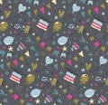 Vector seamless pattern with air balloons, fireworks, confetti, bunting flags garlands, gift box
